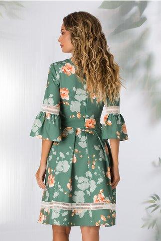 Rochie LaDonna verde cu imprimeu floral si insertii din dantela