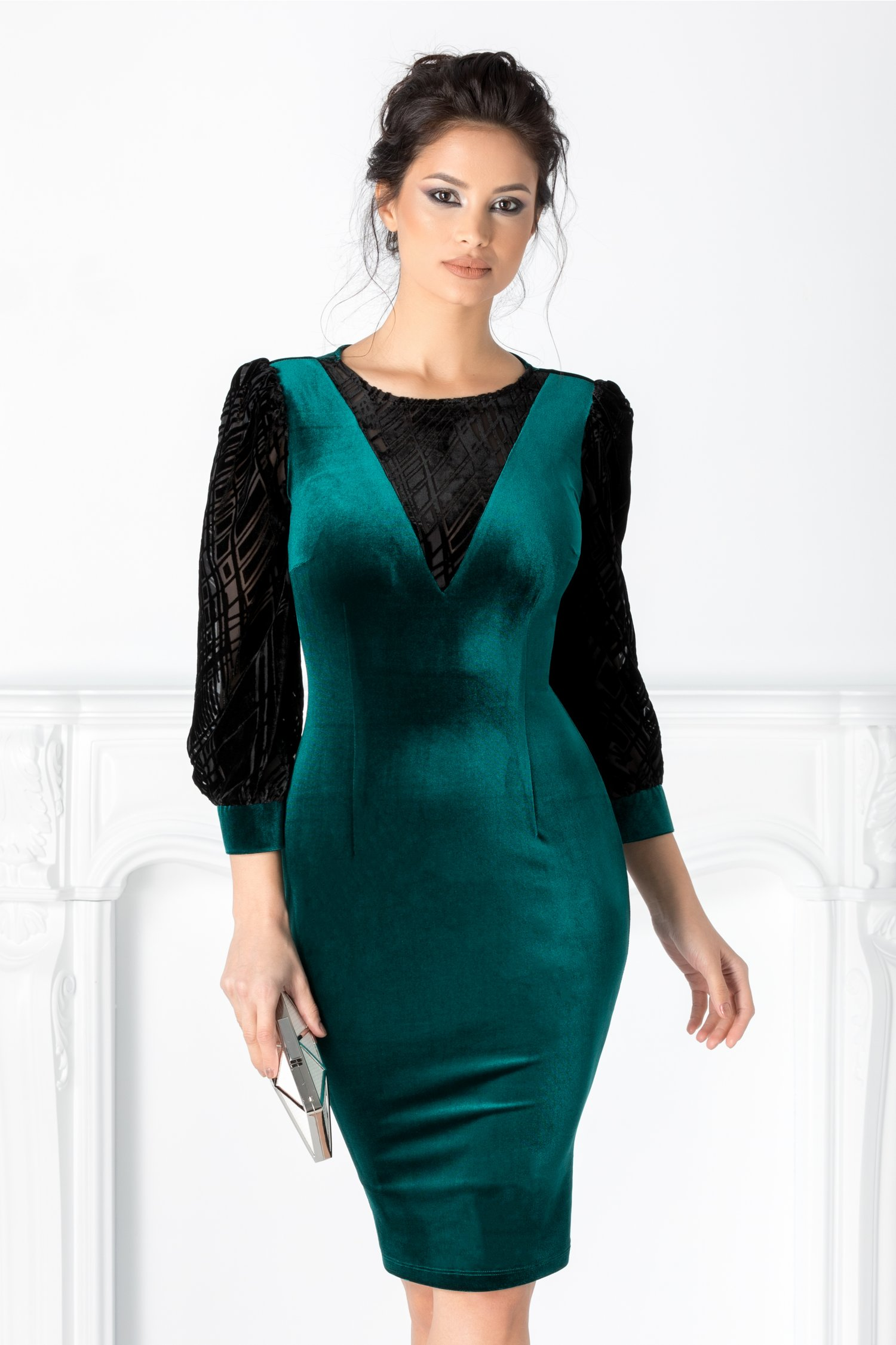 Rochie LaDonna verde cu insertii negre