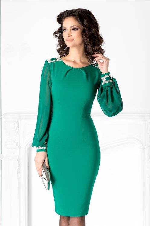 Rochie LaDonna verde cu maneci din voal si broderie
