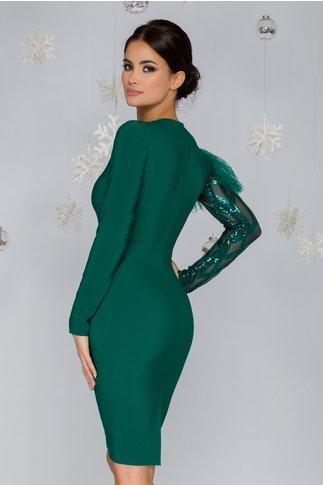Rochie LaDonna verde cu o maneca din paiete si crepeu la spate