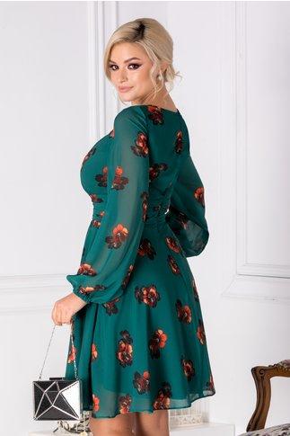 Rochie LaDonna verde cu panselute