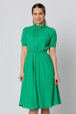 Rochie LaDonna verde cu perlute la guler