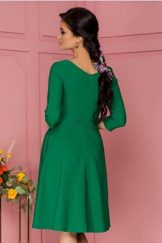 Rochie LaDonna verde cu pliuri maxi in talie