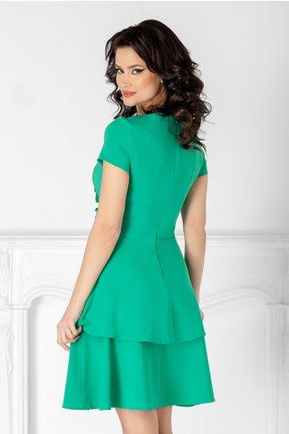 Rochie LaDonna verde cu volanase