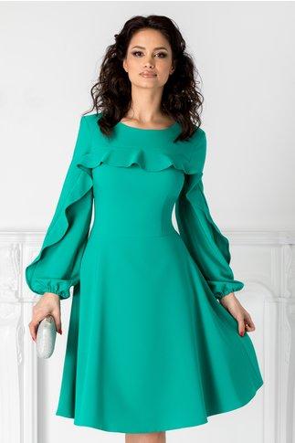Rochie LaDonna verde cu volane la bust si la maneci