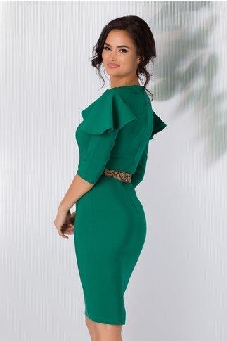 Rochie LaDonna verde cu volane la umeri si curea animal print