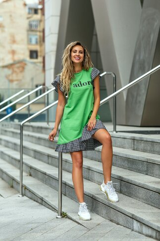 Rochie LaDonna verde cu volane si imprimeu text