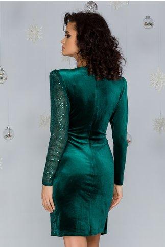 Rochie LaDonna verde din catifea cu paiete