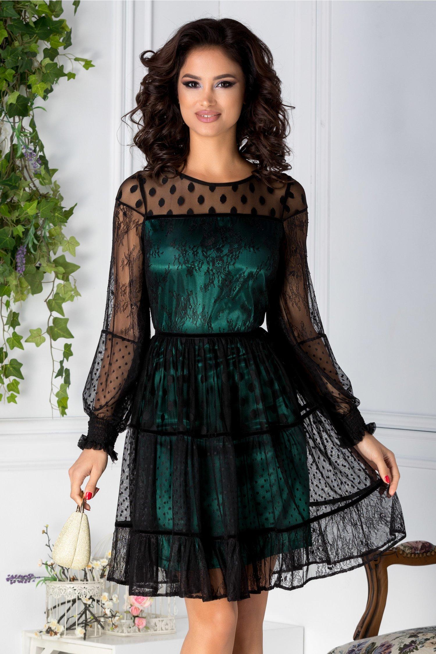 Rochie LaDonna verde din tull negru cu insertii florale si buline