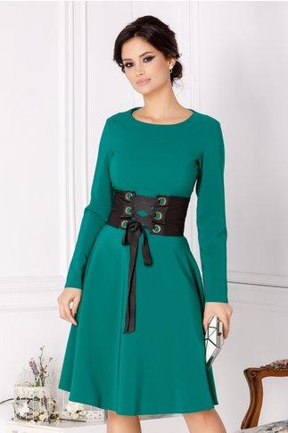 Rochie LaDonna verde in clos cu brau in talie