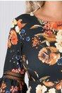Rochie LaDonna verde inchis cu imprimeu floral si insertii din dantela
