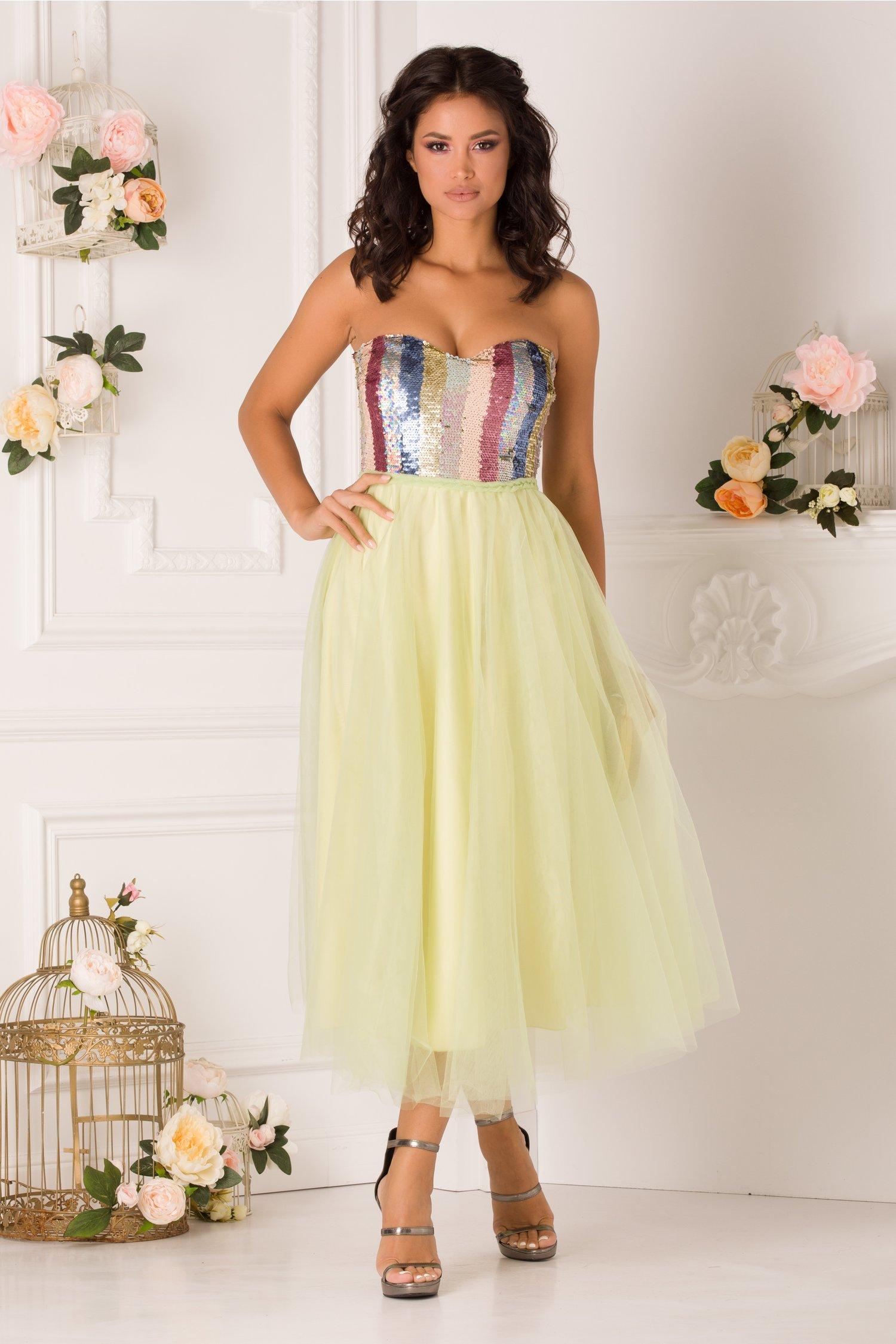 rochie ladonna verde lime cu paiete multicolore la bust 352759 4