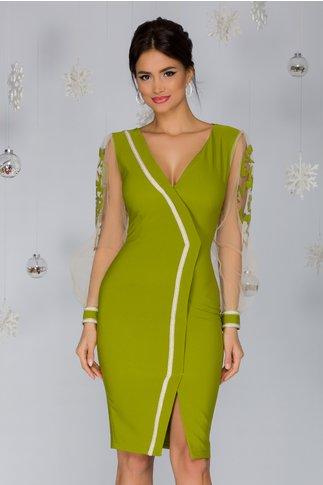 Rochie LaDonna verde lime stil sacou cu aplicatie din margele si maneci din tull