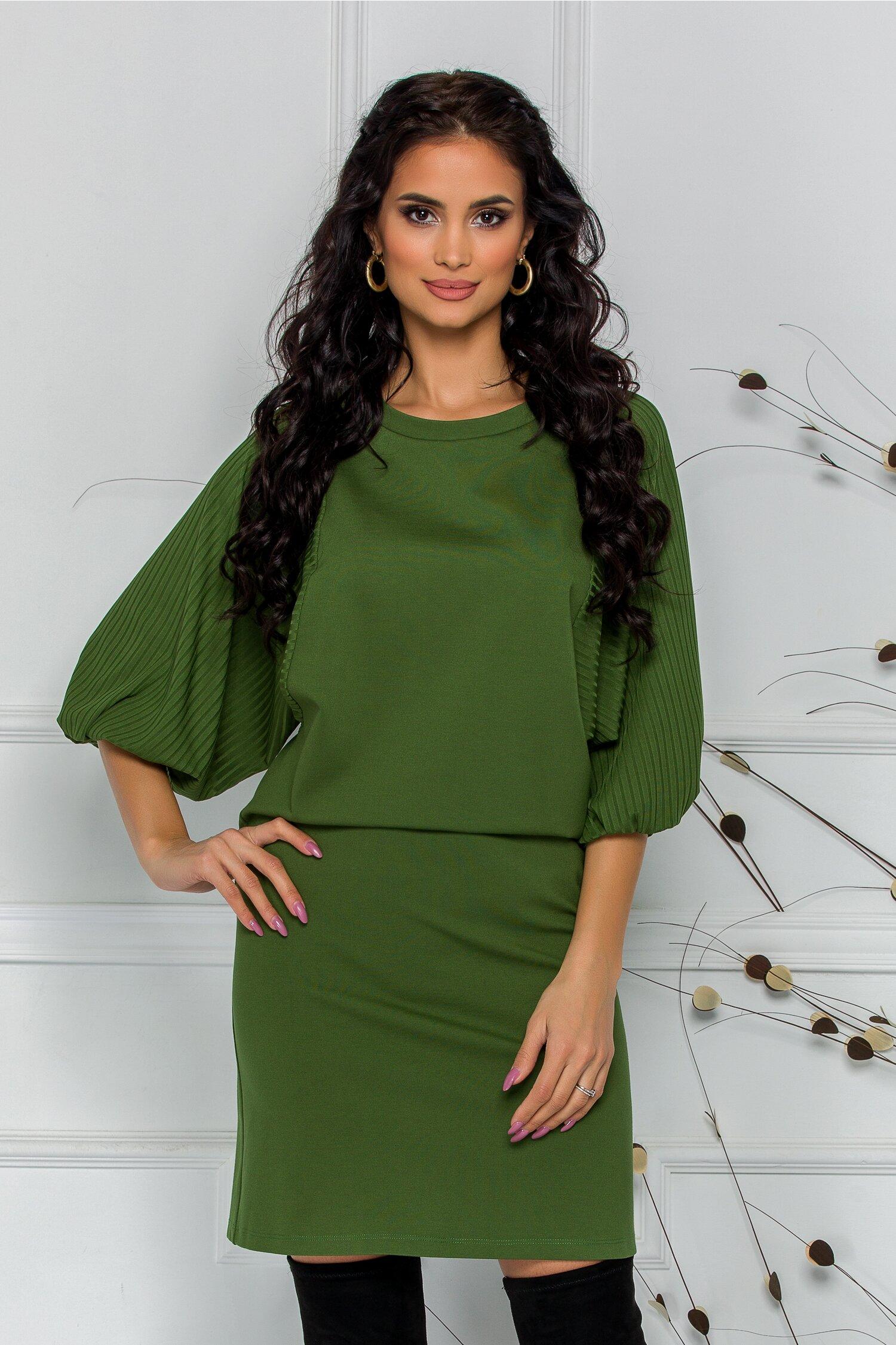 Rochie LaDonna verde olive cu maneci lejere cu textura striata