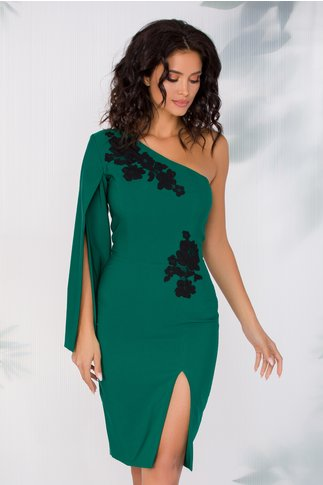 Rochie LaDonna verde pe un umar cu broderie la bust si in talie