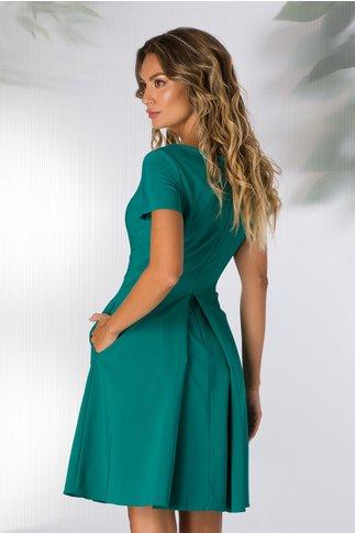 Rochie LaDonna verde turcoaz cu pliu maxi