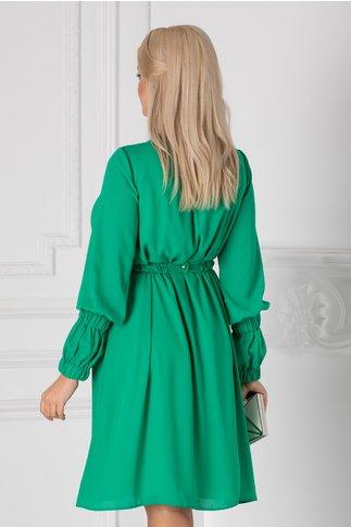Rochie LaDonna verde vaporoasa cu cordon in talie