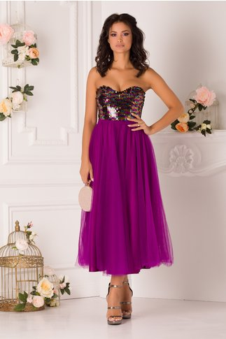 Rochie LaDonna violet cu paiete multicolore la bust