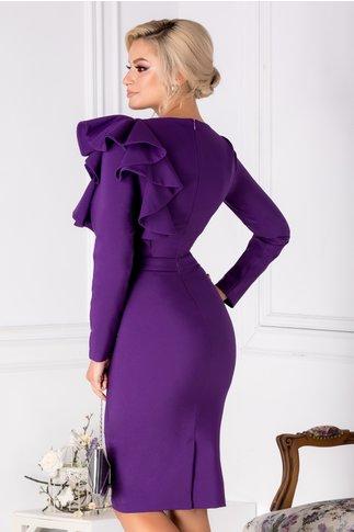 Rochie LaDonna violet cu volane la umar