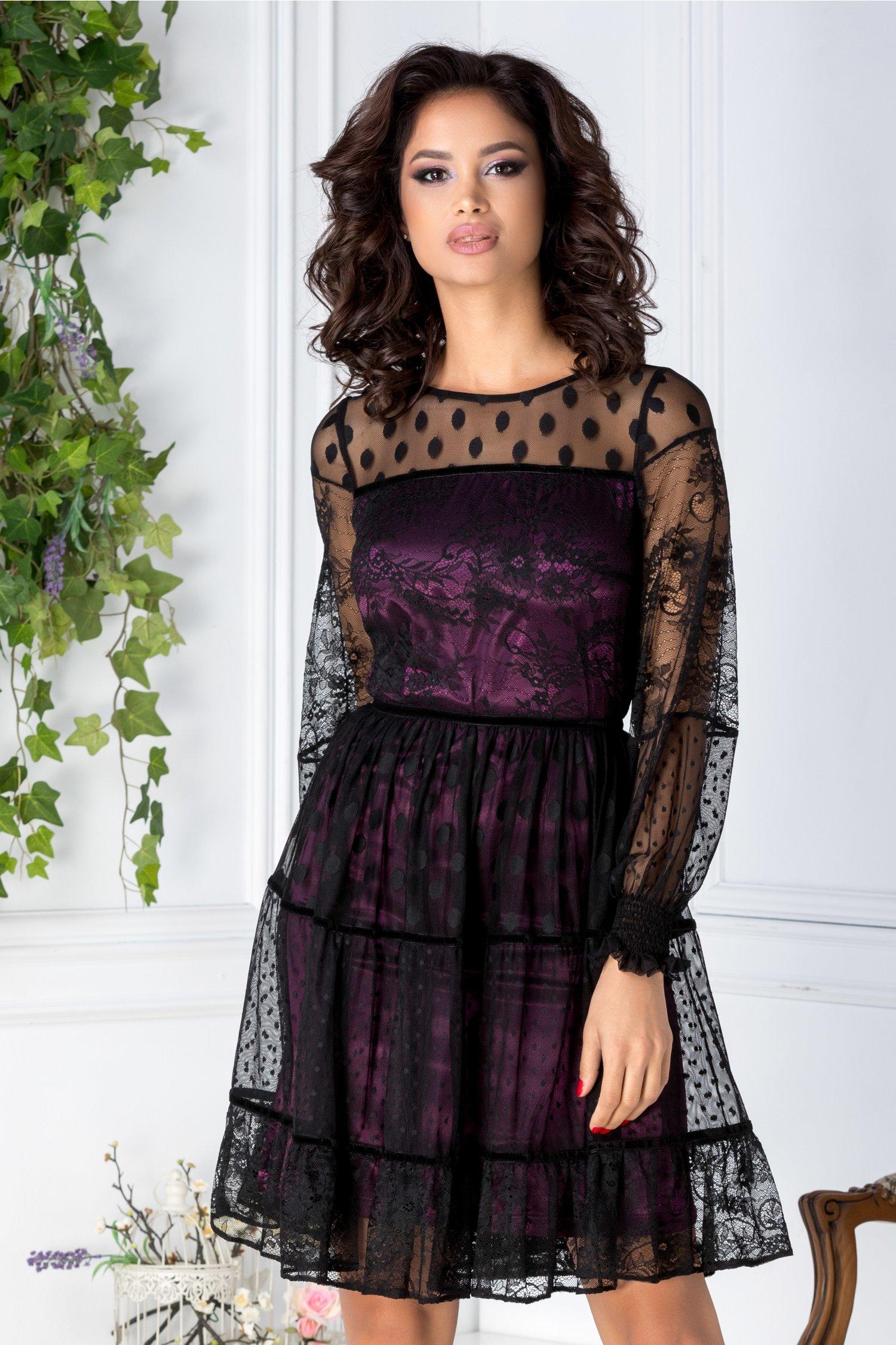 Rochie LaDonna violet din tull negru cu insertii florale si buline