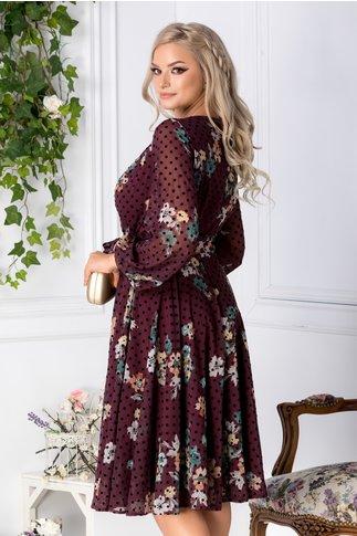 Rochie LaDonna visiniu cu imprimeu floral si buline