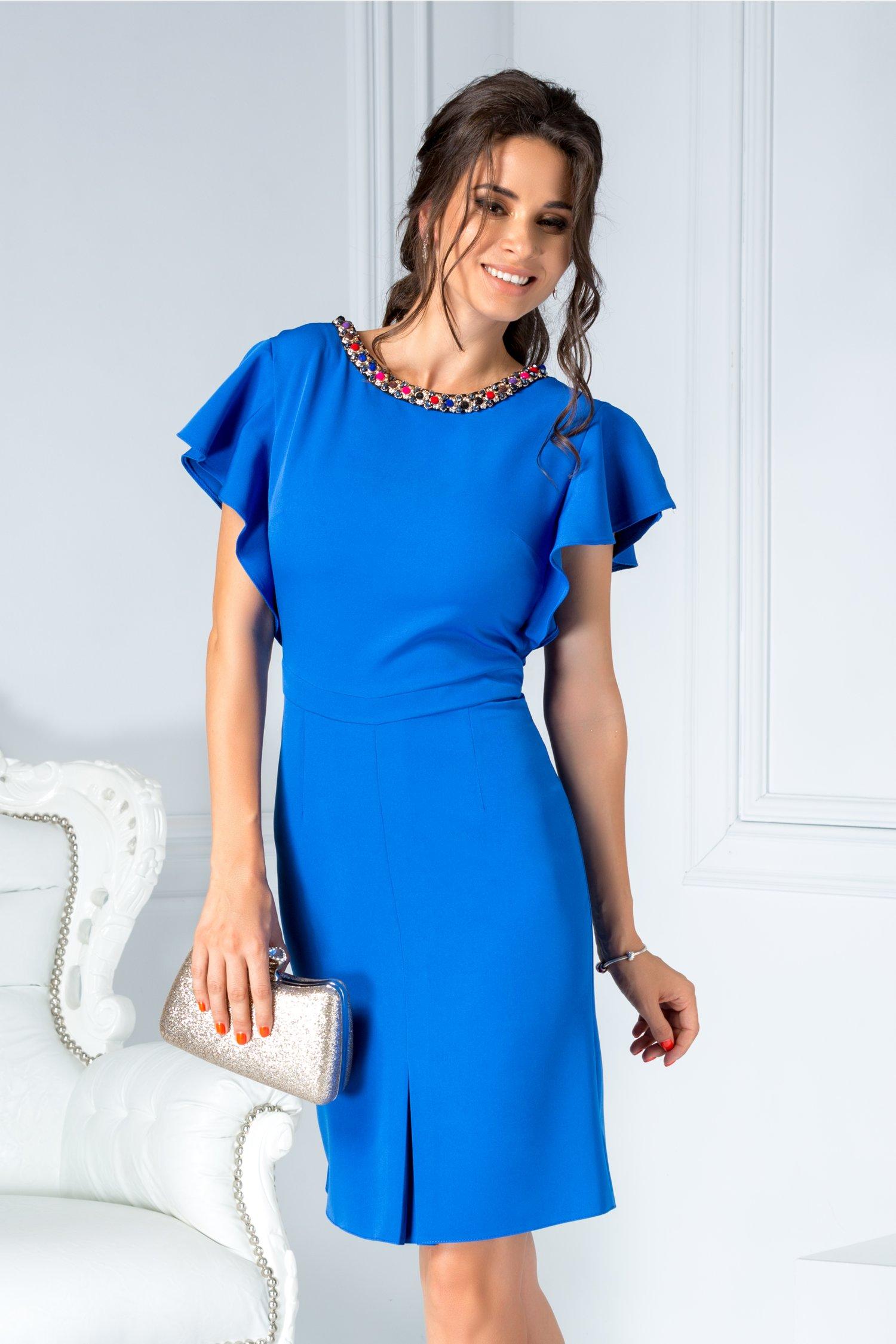 Rochie Lara albastra de ocazie cu aplicatii la guler