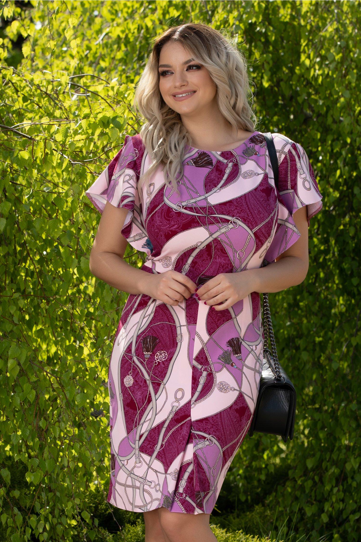 Rochie Lara magenta cu imprimeuri diverse