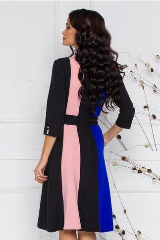 Rochie Lara neagra cu imprimeu in nuante de albastru si roz si nasturi la decolteu