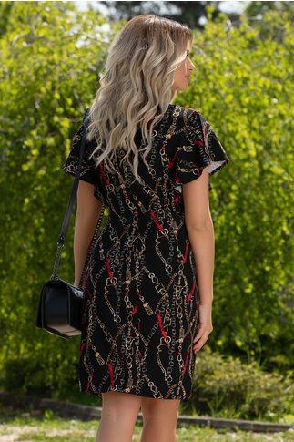 Rochie Lara neagra cu imprimeuri rosii
