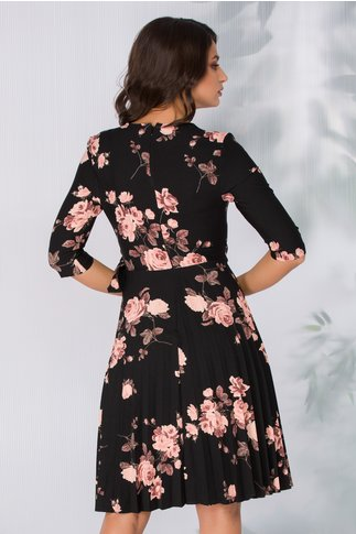 Rochie Lara neagra cu trandafiri roz