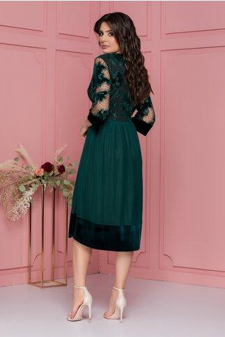 Rochie Lari verde din tull cu catifea si glitter