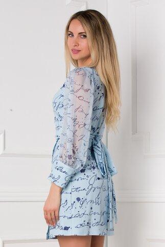 Rochie Larie bleu cu imprimeu text bleumarin