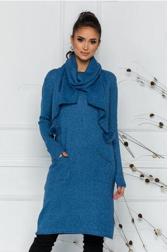 Rochie Larisa albastra cu accesoriu tip esarfa