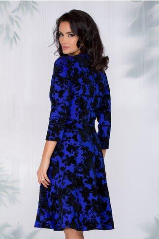 Rochie Larisa albastra cu insertii florale din catifea neagra