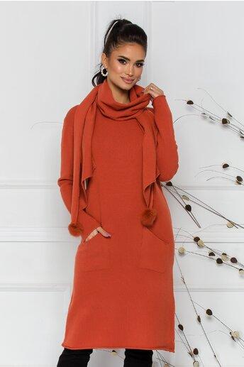 Rochie Larisa caramizie cu accesoriu tip esarfa