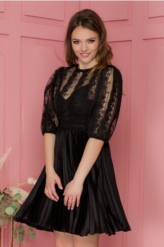 Rochie Larisa neagra cu fusta plisata si dantela la bust