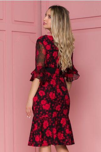 Rochie Larisa neagra cu imprimeu floral rosu