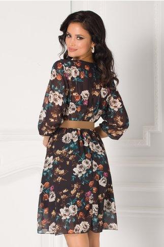 Rochie Larisa neagra cu imprimeu floral si cordon in talie