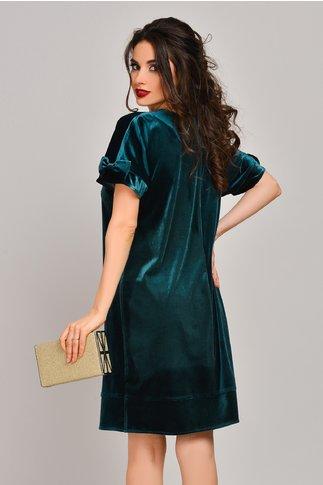 Rochie Latiffa verde din catifea croi lejer