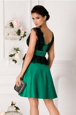 Rochie Laura verde cu aplicatii din dantela neagra