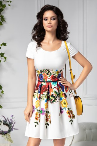 Rochie Lavinia clos alba cu imprimeu floral colorat