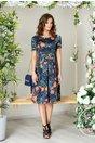 Rochie Layla bleumarin cu imprimeu floral portocaliu