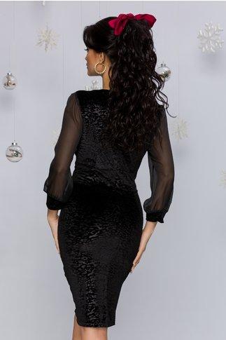 Rochie Layla neagra cu accesoriu in talie