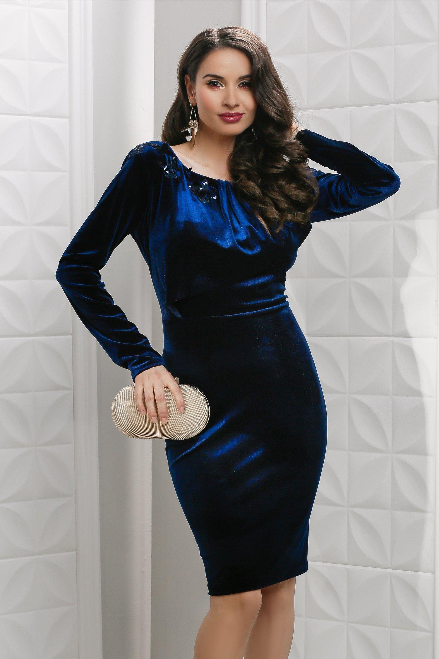 Rochie Leah bleumarin din catifea de seara