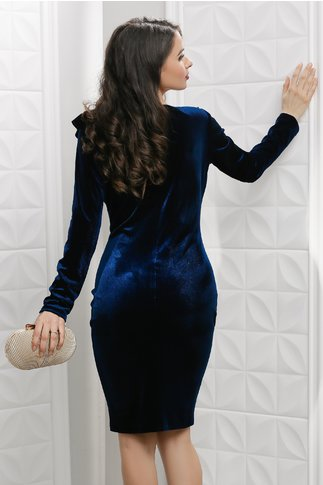 Rochie Leonard Collection Leah bleumarin din catifea de seara