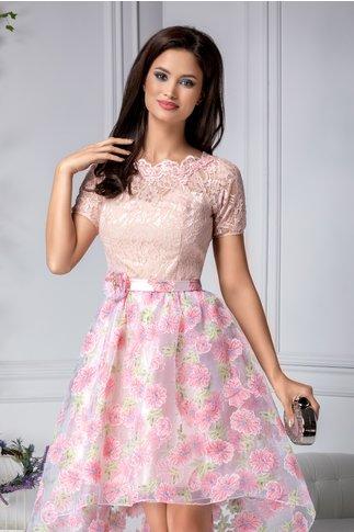 Rochie Leila cu dantela roz si flori 3D