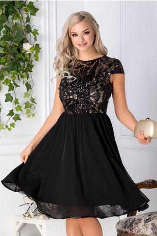 Rochie Leila neagra cu paiete negre si aurii