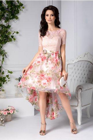 Rochie Lelia roz midi cu trandafiri 3D si broderie
