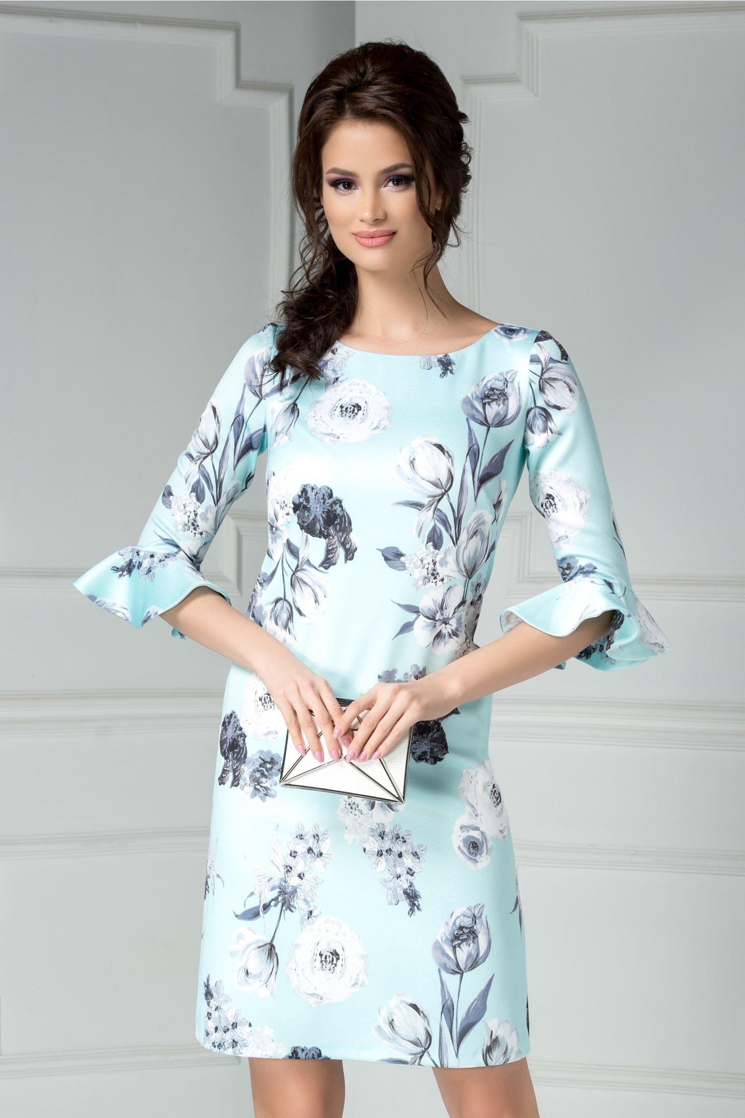 Rochie Leonard Collection Aissa bleu cu imprimeu