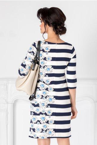 Rochie Leonard Collection alba cu dungi bleumarin si imprimeu floral pe o parte